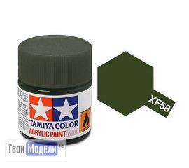 Необходимое для моделей Tamiya 81758 XF-58 Оливково-зеленая (Olive Green) #Краска-acrylic tm00439 купить в твоимодели.рф