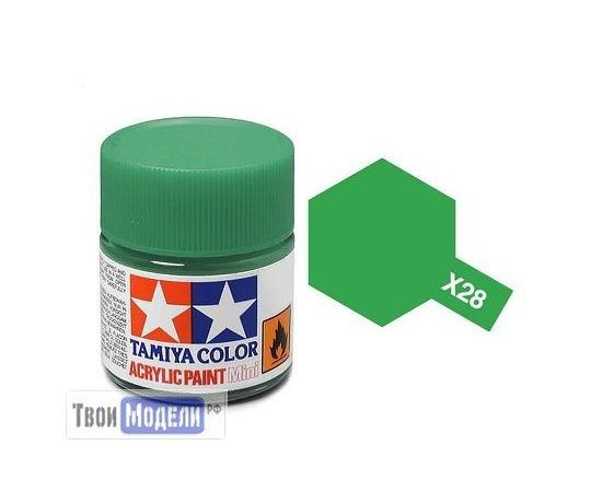 Необходимое для моделей Tamiya 81528 X-28 Бледно-зеленая прозрачная (Park Green) #Краска-acrylic tm00414 купить в твоимодели.рф