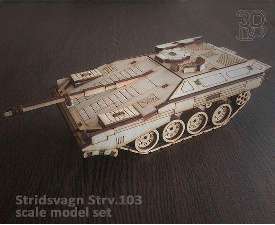 """Склеиваемые модели  Stridsvagn 103 (Strv.103) Собранная модель из дерева МДФ """"World Of Transport"""" tm10231-S купить в твоимодели.рф"""