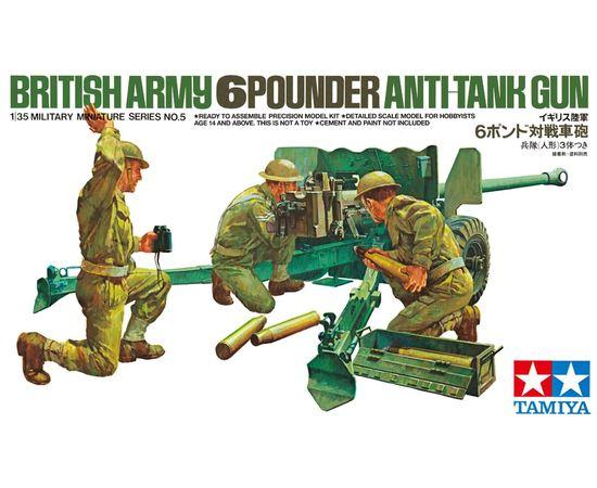 Склеиваемые модели  Tamiya 35005 Британская 6-ти фунтовая пушка и 3 фигурки 1/35 tm-19-8383 купить в твоимодели.рф