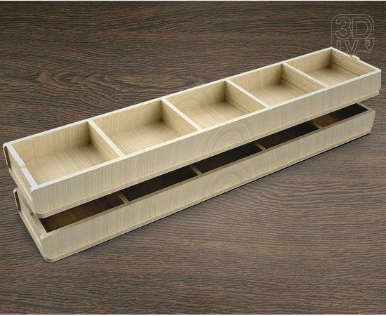 Изделия из дерева МДФ Ящик 5 отделений для хранения мелочи  350х75х25мм tm-19-8675 купить в твоимодели.рф