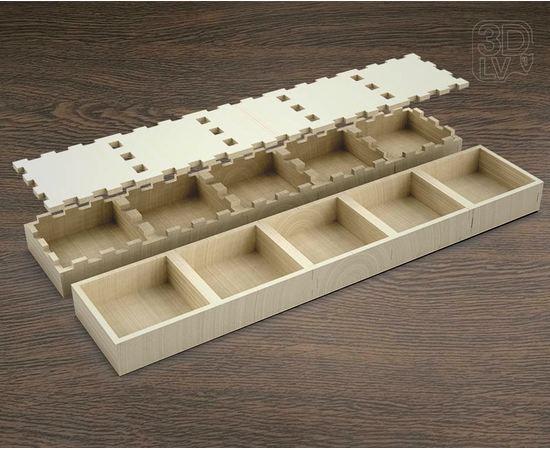 Изделия из дерева (фанеры) Коробка 5 отделений макет в векторе DXF 3-4 мм tm-19-8674 купить в твоимодели.рф