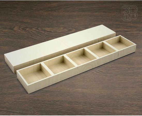 Изделия из дерева МДФ Коробка 5 отделений макет в векторе DXF 3-4 мм tm-19-8674 купить в твоимодели.рф