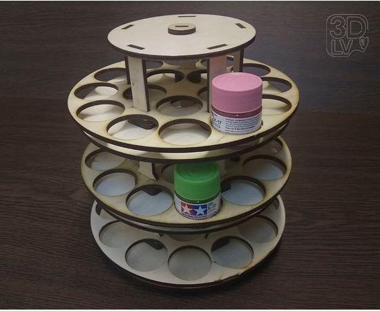 Изделия из дерева (фанеры) Блок RSM-3TL Подставка круговая для краски tamiya или mr. color 51 шт tm-19-8736 купить в твоимодели.рф