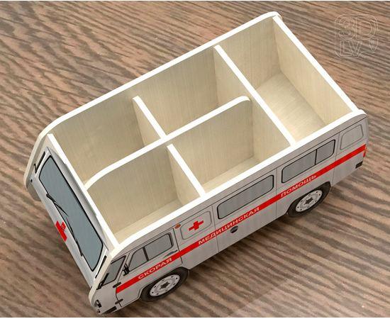 Изделия из дерева (фанеры) Органайзер для канцелярии в виде УАЗ 3909 (Скорая помощь) tm-19-8743 купить в твоимодели.рф