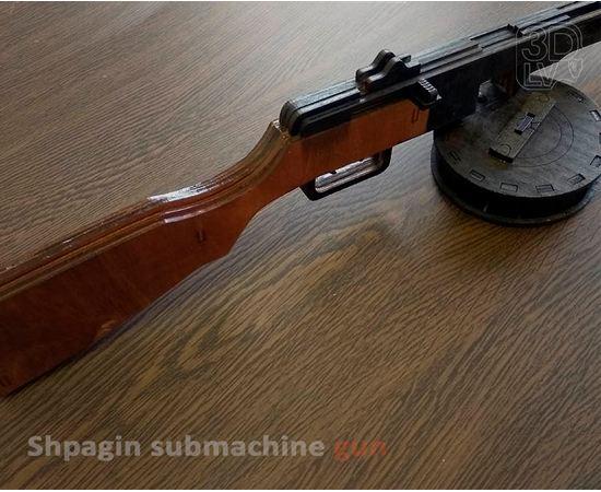 Изделия из дерева МДФ Пистолет-пулемёт Шпагина ППШ из  дерева (собранный и окрашенный) tm10187-SK купить в твоимодели.рф