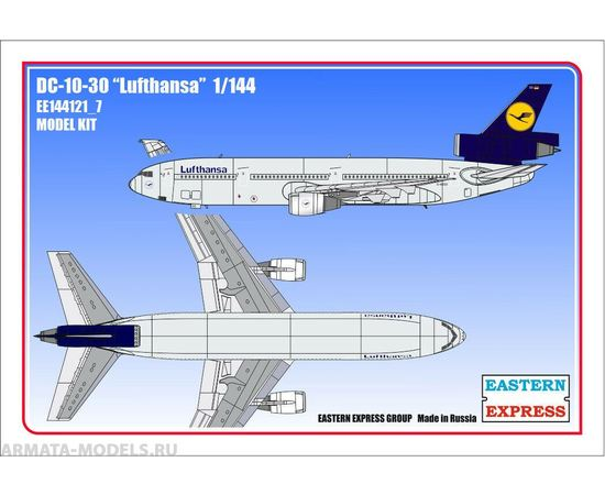 Склеиваемые модели  ЕЕ144121_7 Авиалайнер DC-10-30 Lufthansa - самолёт 1/144 tm-19-8836 купить в твоимодели.рф