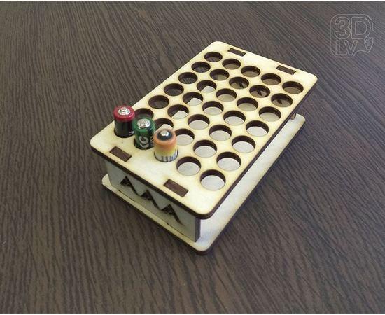 Изделия из дерева МДФ Подставка органайзер на 35 мизинчиковых батареек типоразмера ААА tm-19-8815 купить в твоимодели.рф