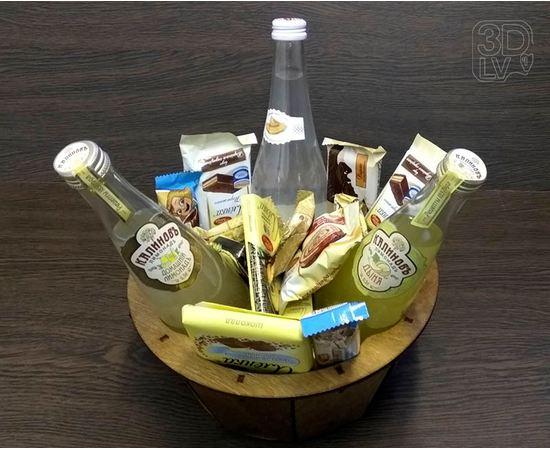 Изделия из дерева (фанеры) Корзинка для подарка - отличное решение подарка на 23 февраля (окрашена) tm-19-8823-KL купить в твоимодели.рф
