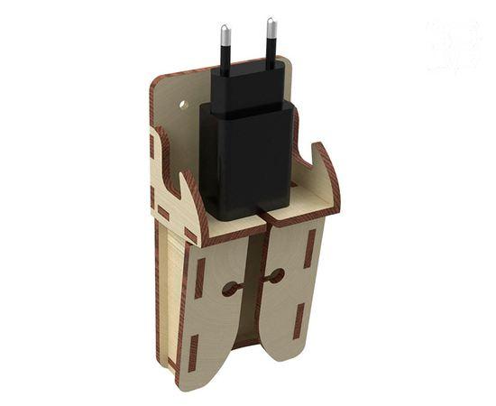 Изделия из дерева (фанеры) Подставка для одного зарядного устройства с проводом. ХИТ 2020 года! tm-19-8864 купить в твоимодели.рф