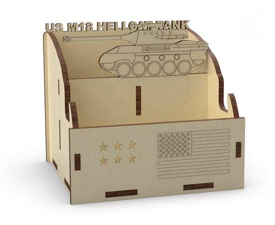 Изделия из дерева (фанеры) Органайзер школьный для канцелярии и смартфона  US M18 Hellcat tm-19-8912 купить в твоимодели.рф