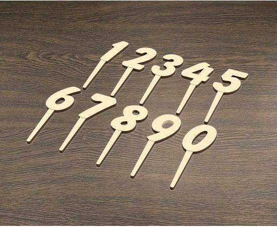 """Изделия из дерева (фанеры) Набор шпажек для украшения торта """"Цифры. С днем рождения"""" 10см tm-19-9006 купить в твоимодели.рф"""