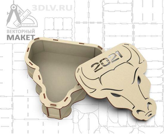 Изделия из дерева (фанеры) Макет Оригинальная новогодняя упаковка шкатулка символа года голова быка в векторе .dfx .ai .cdr tm-19-9318 купить в твоимодели.рф
