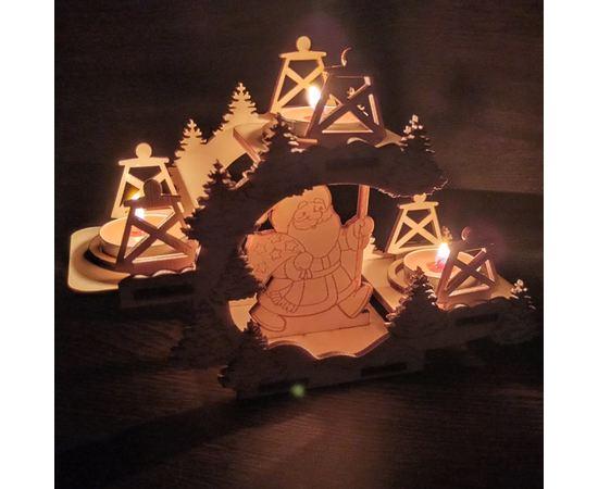 Изделия из дерева (фанеры) Подставка новогодняя для свечек с дедом морозом и елками tm-19-9358 купить в твоимодели.рф