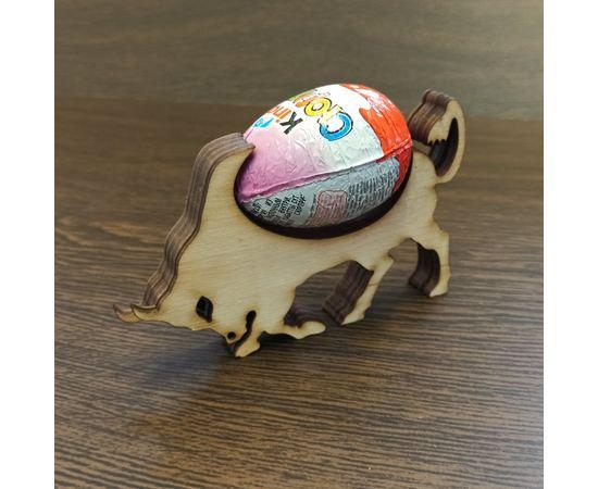 Изделия из дерева (фанеры) Оригинальная новогодняя подставка для шоколадного яйца символа года бык для подарка tm-19-9360 купить в твоимодели.рф