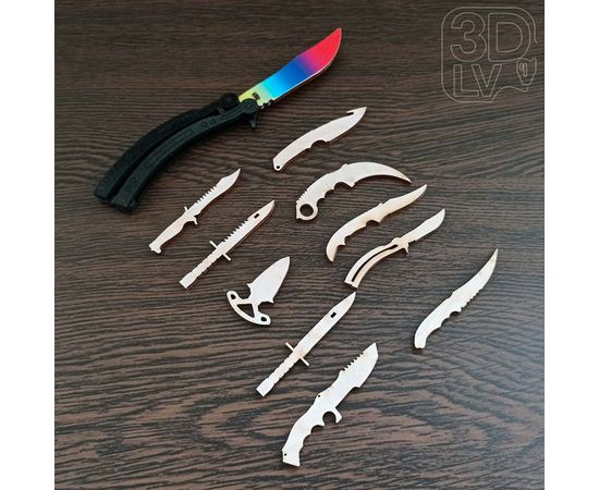 Изделия из дерева (фанеры) Набор 3 - Нож Bayonet, Butterfly, Huntsman, Gut, Daggers,Karambit, Bowie, Flip, Falchion, CS:GO из дерева мини 80мм tm-19-9256 купить в твоимодели.рф