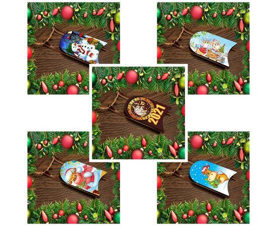 Изделия из дерева (фанеры) Набор новогодних украшений на елку деревянные санки с картинками 5 шт. tm-19-9347-5 купить в твоимодели.рф