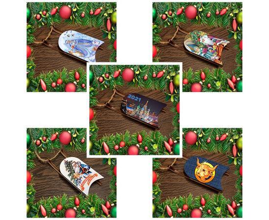 Изделия из дерева (фанеры) Набор новогодних украшений на елку деревянные санки с картинками 5 шт. tm-19-9347-6 купить в твоимодели.рф