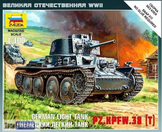 Склеиваемые модели  zvezda 6130 Звезда PZ.KPFW.38 (T) Немецкий легкий танк 1/100 tm01225 купить в твоимодели.рф