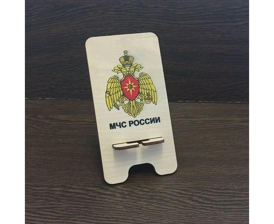 Изделия из дерева (фанеры) Подставка для мобильного телефона смартфона с логотипом МЧС России (3DLV-19-9492) tm-19-9492 купить в твоимодели.рф