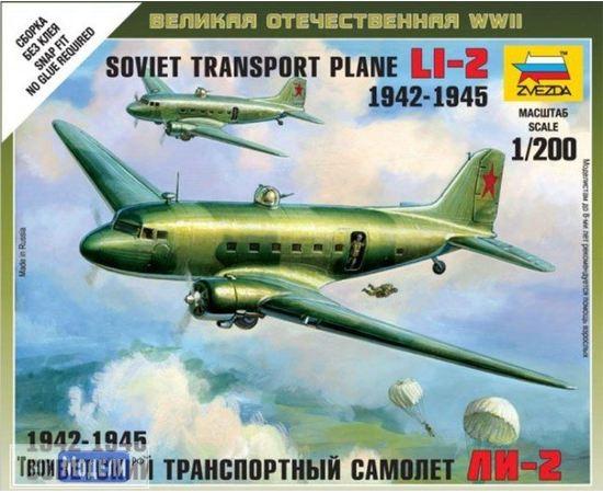 Склеиваемые модели  zvezda 6140 Звезда Ли-2 Советский транспортный самолет 1/200 tm02055 купить в твоимодели.рф